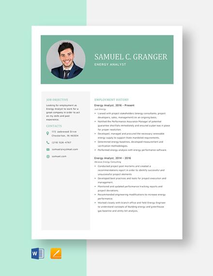 Energy Analyst Resume Template