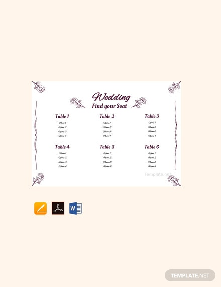 Free Simple Wedding Seating Chart Template