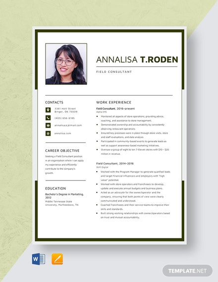 Field Consultant Resume Template
