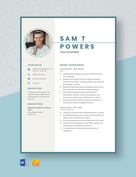 Field Examiner Resume Template