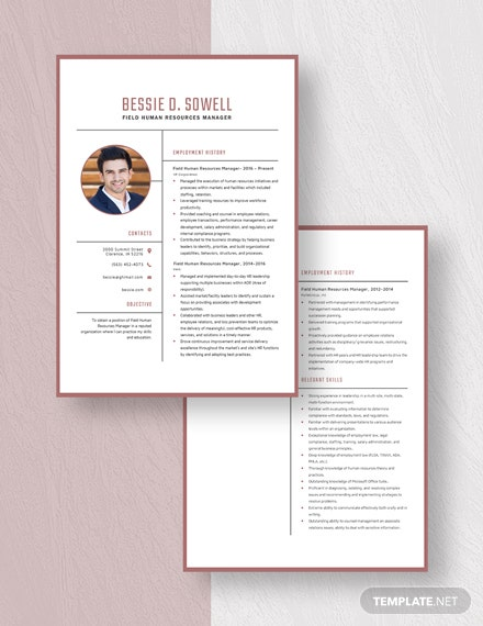 Field Huma Resources Manager Resume Download