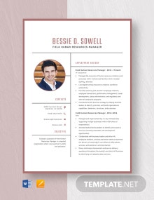 Field Human Resources Manager Resume Template