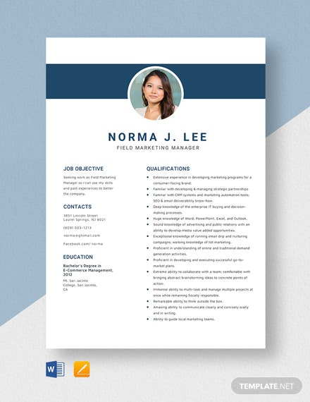Field Marketing Manager Resume Template
