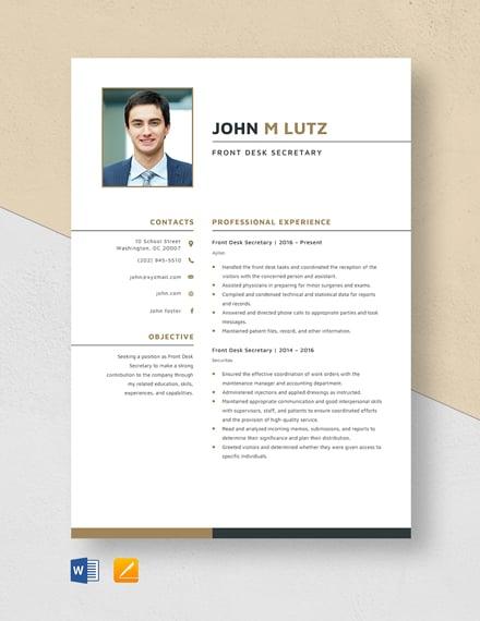 Front Desk Secretary Resume Template
