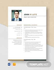 Front Desk Secretary Resume Template