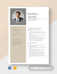 Front Desk Security Resume Template