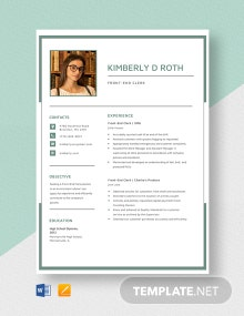Front-End Clerk Resume Template