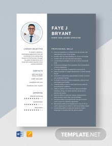 Front-End Loader Operator Resume Template
