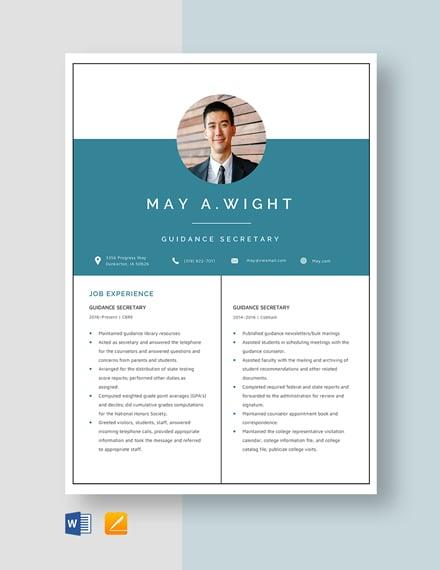 Guidance Secretary Resume Template