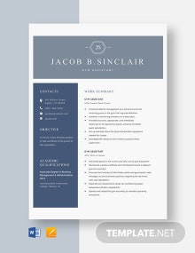 Gym Assistant Resume Template