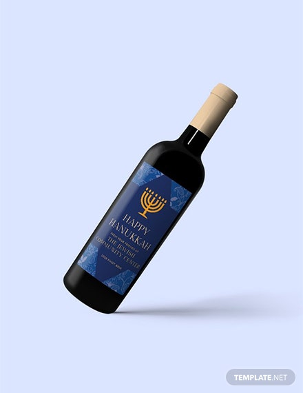 Free Hanukkah Wine Bottle Label Template