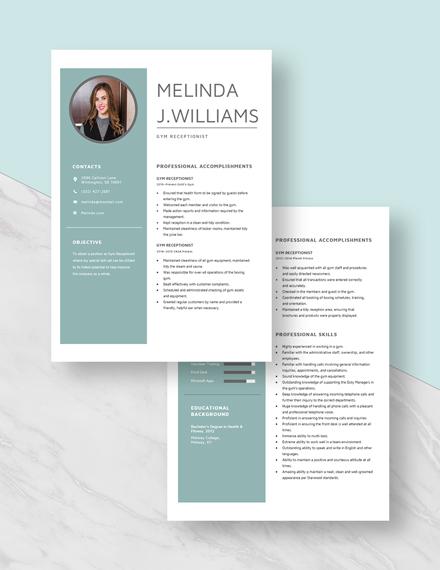 Gym Receptionist Resume Download