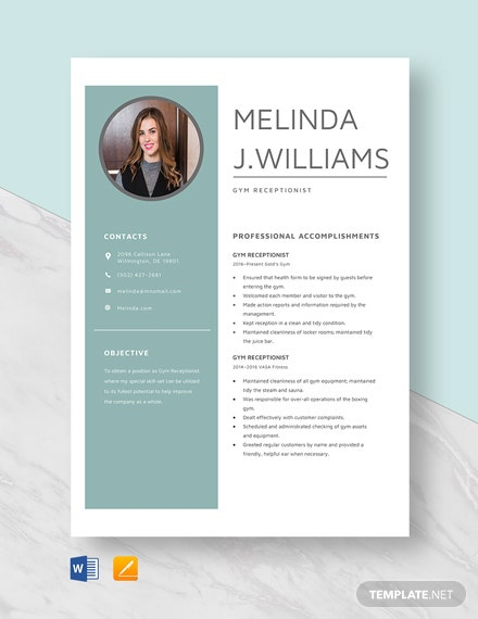 Gym Receptionist Resume Template