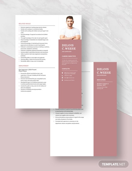 Gym Supervisor Resume Template: Download 2932+ Resumes in
