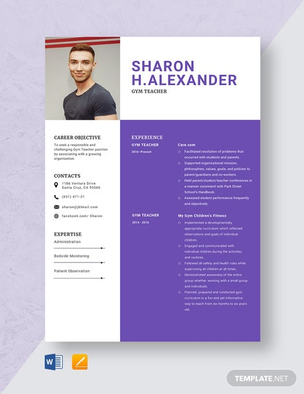 Gym Teacher Resume Template