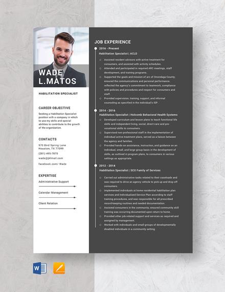 Habilitation Specialist Resume Template