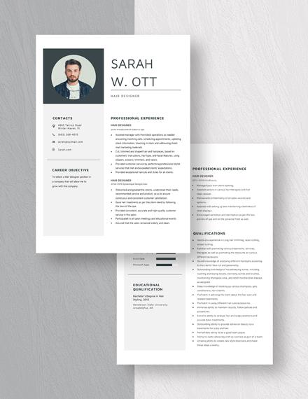 Hair Designer Resume Download