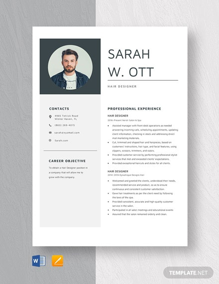 Hair Designer Resume Template