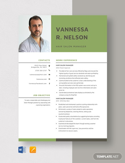 Hair Salon Manager Resume Template