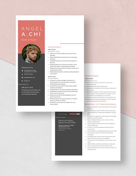 Hair Stylist Resume Download