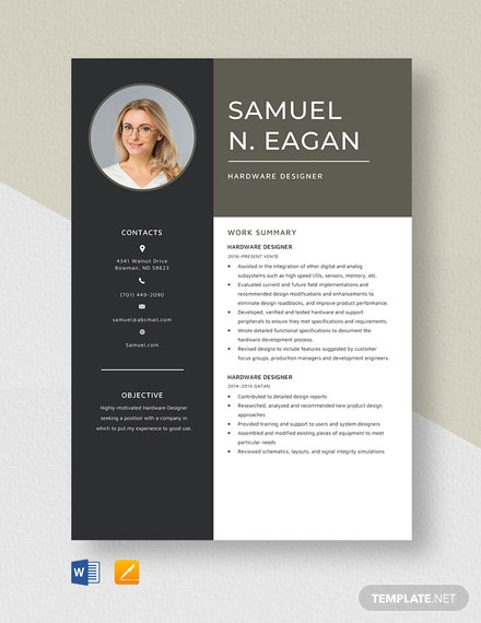 Hardware Designer Resume Template