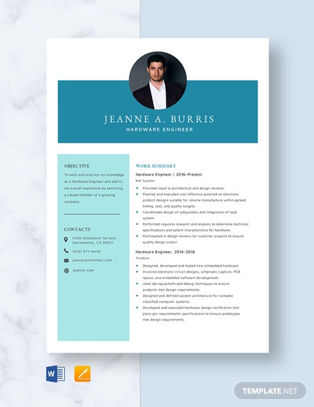 Hardware Engineer Resume Template - Word | Apple (MAC) Pages ...