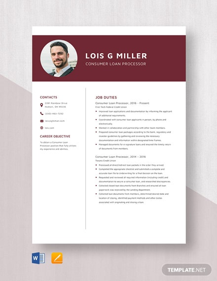 Consumer Loan Processor Resume Template