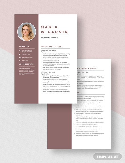Content Editor Resume Download