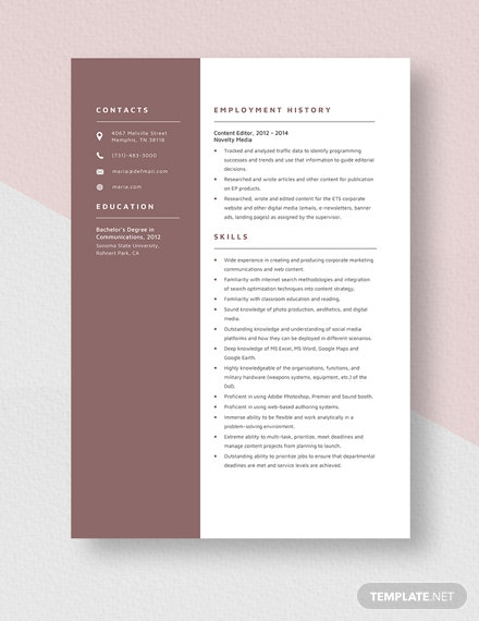 Content Editor Resume Template