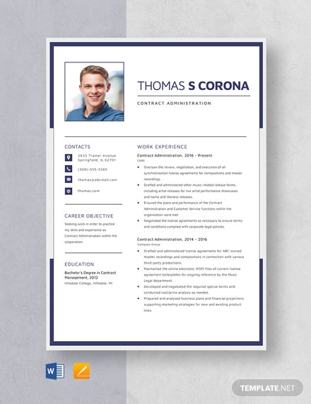Contract Administration Resume Template