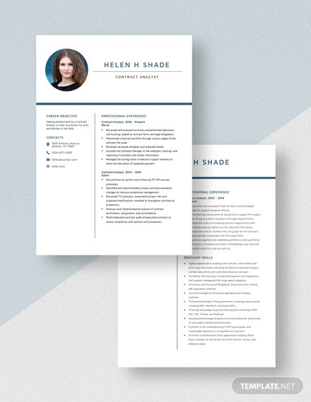 Contract Analyst Resume  Download