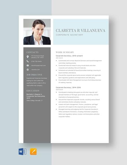 Corporate Secretary Resume Template