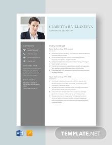 Corporate Secretary Resume Template