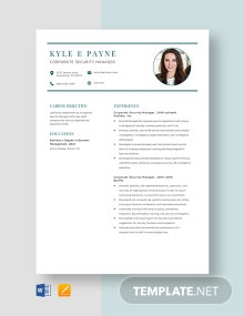 Corporate Security Manager Resume Template