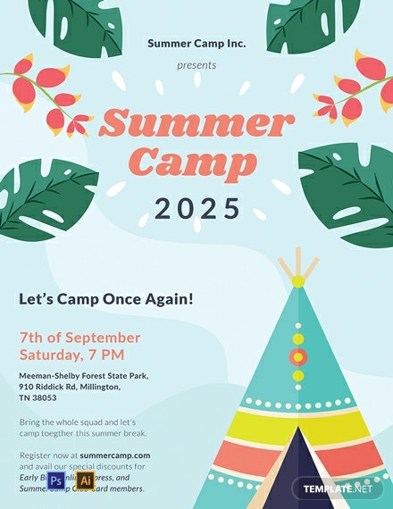 Free Summer Camp Poster Template Psd Apple Pages
