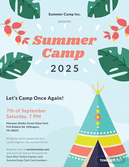 free summer camp poster template  download 161  posters in