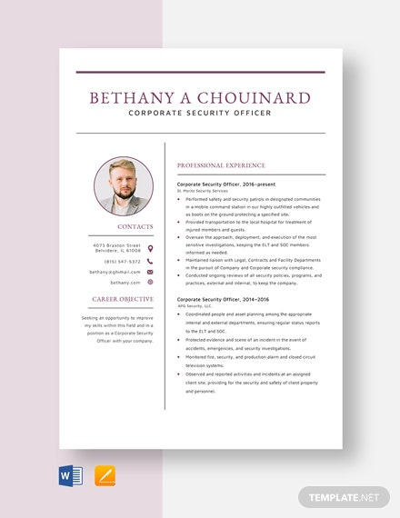 Corporate Security Officer Resume Template