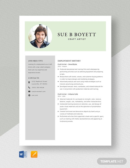 Craft Artist Resume Template