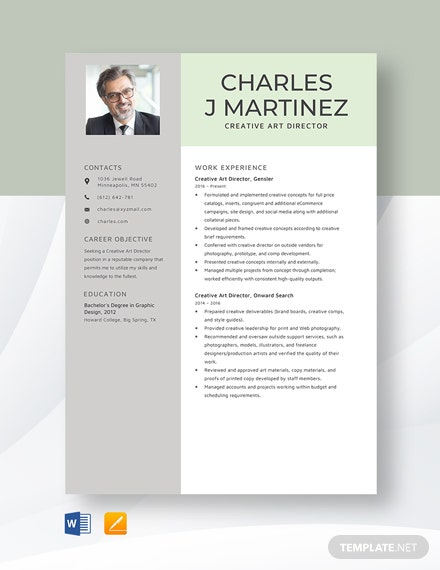 Creative Art Director Resume Template