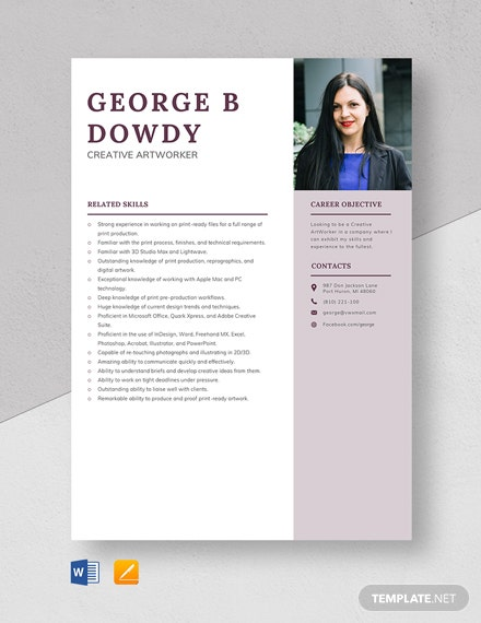 Creative Artworker Resume Template