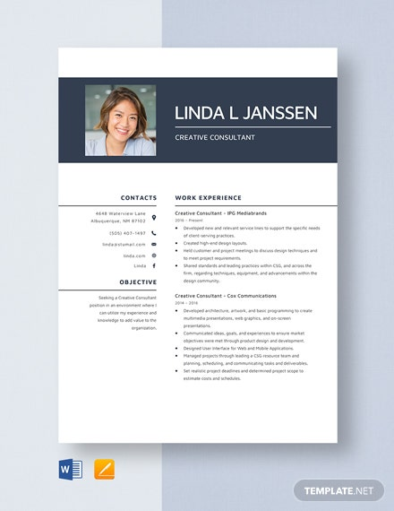 Creative Consultant Resume Template