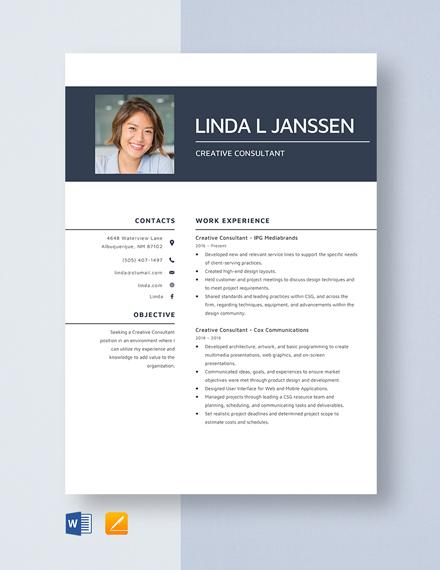 Creative Consultant Resume Template