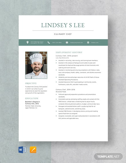 Culinary Chef Resume Template