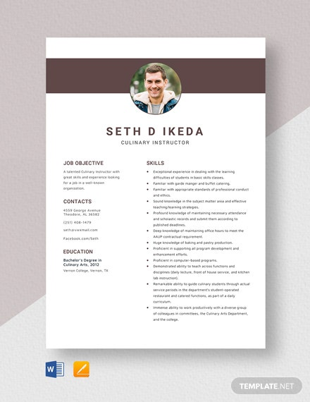 Culinary Instructor Resume Template