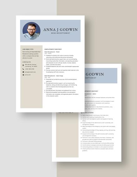 Desk Receptionist Resume Download