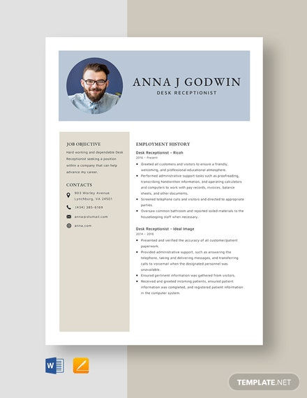 Desk Receptionist Resume Template