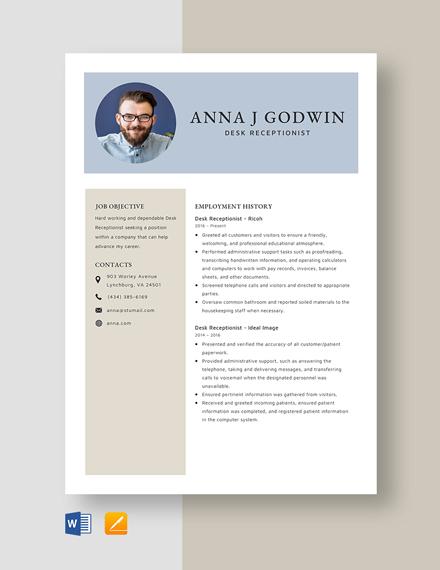 Desk Receptionist Resume Template