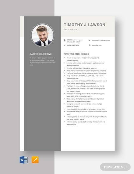 Desk Support Resume Template