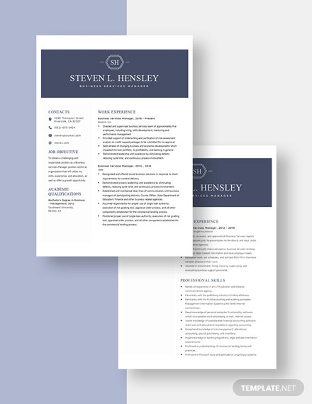 Business Services Manager Resume Download