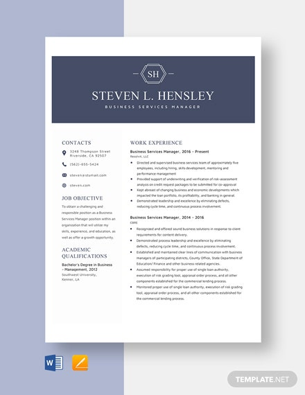Business Services Manager Resume